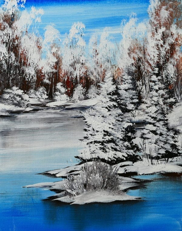 WINTER LANDSCAPE BY PETER DRANITSIN, ACRYLIC ART, ABSTRACT