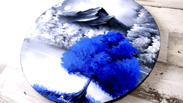 Blue Tree   Easy Painting for Beginners   Abstract   Black and White Landscape   Round Canvas by Peter Dranitsin