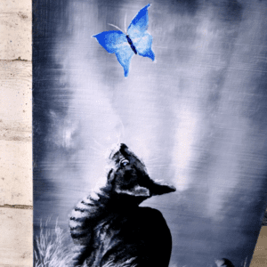 kitten and blue butterfly acrylic painting challenge for beginners black and white abstract