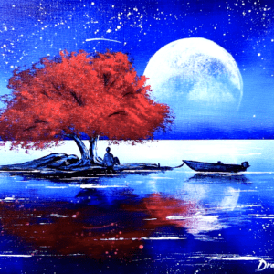Red Tree at Full Moon | Landscape Painting | Easy for Beginners | Abstract1