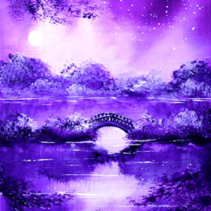 SMALL BRIDGE at Night | LANDSCAPE PAINTING | EASY for BEGINNERS | Abstract 1 copy