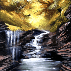 Little Waterfall | Autumn Landscape | Acrylic Painting Challenge for Beginners | Abstract4