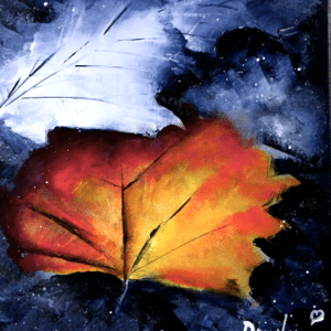 Autumn Leaf | Easy Art for Beginners | Black and White Abstract Landscape