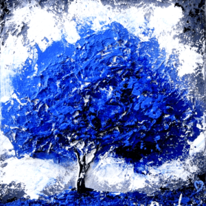 Blue Tree Heavy Texture, Light Molding Paste, Acrylics, Abstract Art, Easy Painting for Beginners, Peter Dranitsin