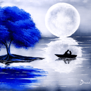 Couple under Blue Tree | Easy Painting for Beginners | BLACK and White Abstract Landscape 0