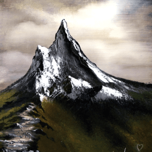 Mountain Path acrylic landscape painting by Peter Dranitsin