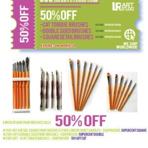 50% OFF - CAT TONGUE, SQUARE DETAIL, & DOUBLE SIDED paint brushes