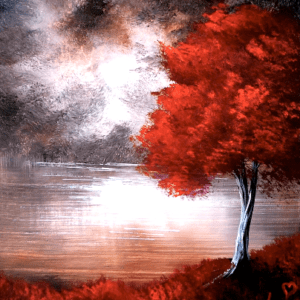 Red Tree | ABSTRACT ART | EASY PAINTING for BEGINNERS | ACRYLICS 01