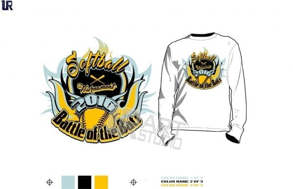 DOWNLOAD softball tshirt vector design 3 colors separated for print layered