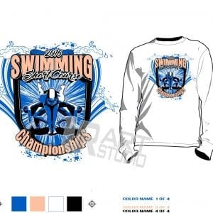 Vector logo design for swimming event short course color seperated for screen print 2016 UrArtStudio