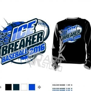 DOWNLOAD AWESOME ICE BREAKER BASEBALL TSHIRT VECTOR LOGO DESIGN COLOR SEPARATED 4 SPOT COLORS FOR TSHIRT SCREEN PRINT
